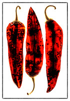 Here, Three Dried Guajillo Peppers Receive Only Back Light.  Flags Were Used To Prevent Unwanted Flare And Light Spread in this commercial product advertising photograph by Brian Buckner Photography.