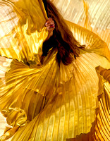 A Belly Dancers Whirling And Billowing Golden Silk Costume Sets Off Her Red Hair In this commercial environmental portrait photograph by brian Buckner Photography, Shreveport, Louisiana.