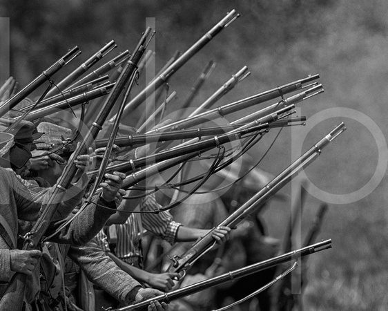 Civil war reenactment battle and gun smoke pleasant hill louisiana black white monochrome