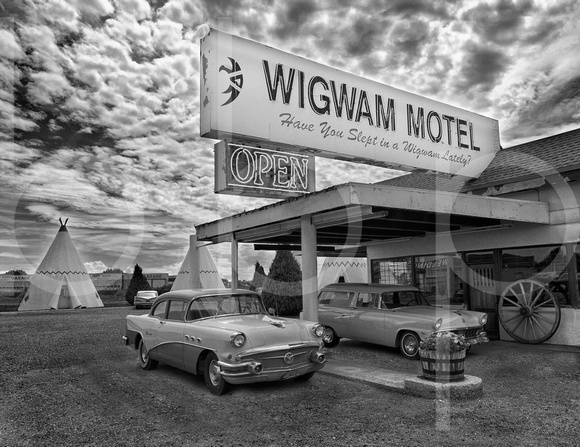 The Wigwam Motel In Holbrook, Arizona Is striking In This Black And White, Commercial Architectural Photograph By Brian Buckner Photography, Shreveport, Louisiana.